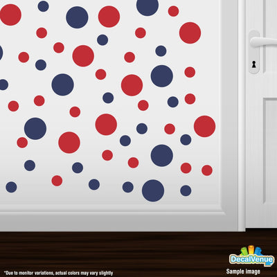 Navy Blue / Red Polka Dot Circles Wall Decals | Polka Dot Circles | DecalVenue.com