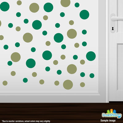 Olive Green / Green Polka Dot Circles Wall Decals-Polka Dot Circles-Decal Venue
