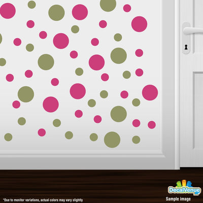 OLive Green / Hot Pink Polka Dot Circles Wall Decals-Polka Dot Circles-Decal Venue