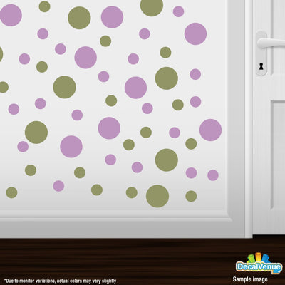 Olive Green / Lilac Polka Dot Circles Wall Decals-Polka Dot Circles-Decal Venue