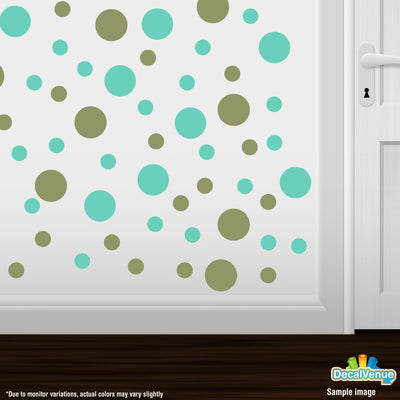 Olive Green / Mint Green Polka Dot Circles Wall Decals | Polka Dot Circles | DecalVenue.com