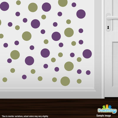 Olive Green / Purple Polka Dot Circles Wall Decals | Polka Dot Circles | DecalVenue.com
