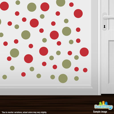 Olive Green / Red Polka Dot Circles Wall Decals-Polka Dot Circles-Decal Venue