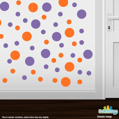 Orange / Lavender Polka Dot Circles Wall Decals-Polka Dot Circles-Decal Venue