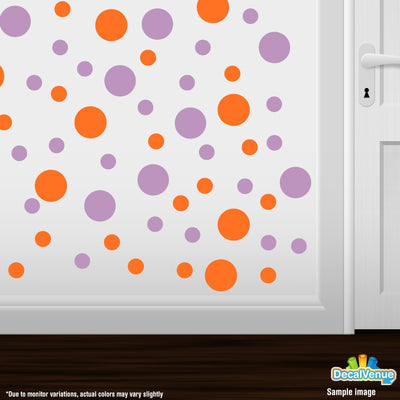 Orange / Lilac Polka Dot Circles Wall Decals | Polka Dot Circles | DecalVenue.com