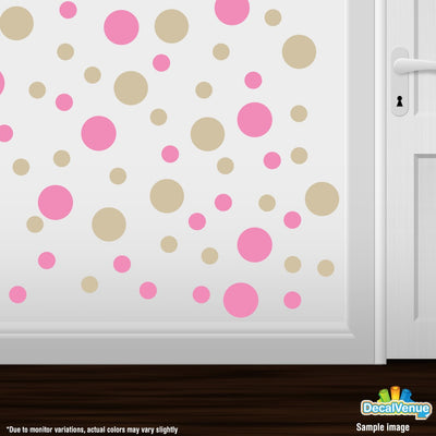 Pink / Beige Polka Dot Circles Wall Decals-Polka Dot Circles-Decal Venue
