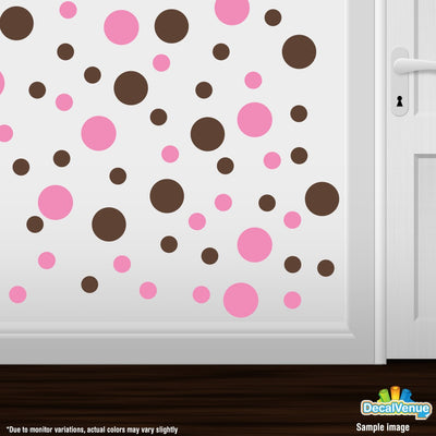 Pink / Chocolate Brown Polka Dot Circles Wall Decals | Polka Dot Circles | DecalVenue.com