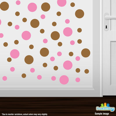 Pink / Metallic Copper Polka Dot Circles Wall Decals | Polka Dot Circles | DecalVenue.com