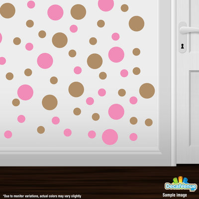 Pink / Light Brown Polka Dot Circles Wall Decals-Polka Dot Circles-Decal Venue