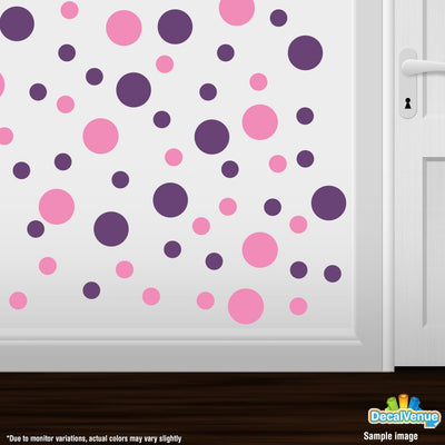 Pink / Purple Polka Dot Circles Wall Decals | Polka Dot Circles | DecalVenue.com