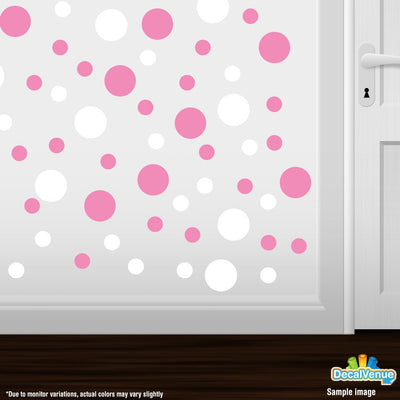 Pink / White Polka Dot Circles Wall Decals | Polka Dot Circles | DecalVenue.com