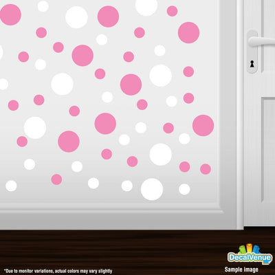 White / Pink Circle Polka Dots Decal Stickers | Decal Venue
