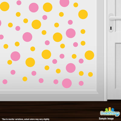 Pink / Yellow Polka Dot Circles Wall Decals | Polka Dot Circles | DecalVenue.com