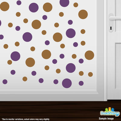Purple / Metallic Copper Polka Dot Circles Wall Decals-Polka Dot Circles-Decal Venue