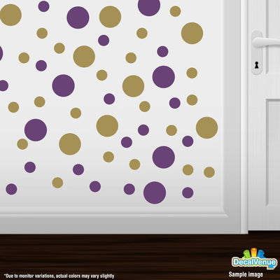 Purple / Metallic Gold Polka Dot Circles Wall Decals-Polka Dot Circles-Decal Venue