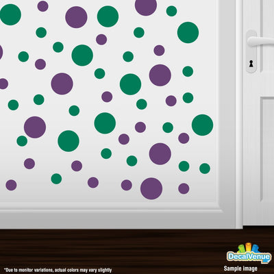 Purple / Green Polka Dot Circles Wall Decals | Polka Dot Circles | DecalVenue.com