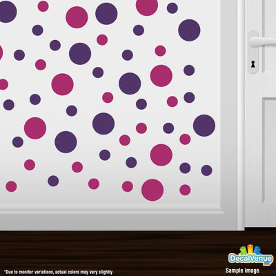 Purple / Hot Pink Circle Polka Dots Decal Stickers | Decal Venue