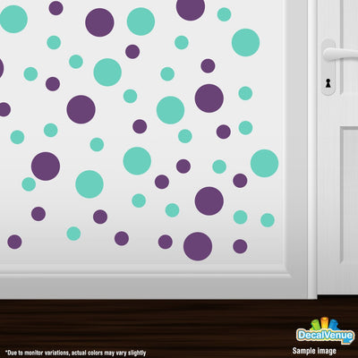 Purple / Mint Green Polka Dot Circles Wall Decals | Polka Dot Circles | DecalVenue.com