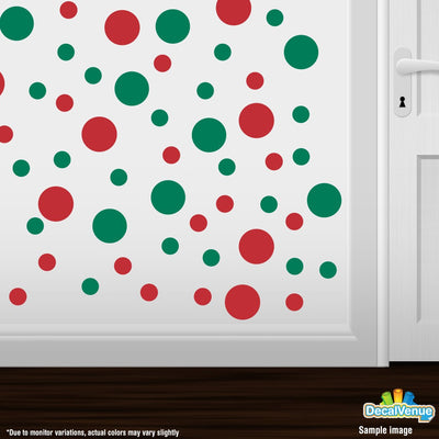 Red / Green Polka Dot Circles Wall Decals | Polka Dot Circles | DecalVenue.com