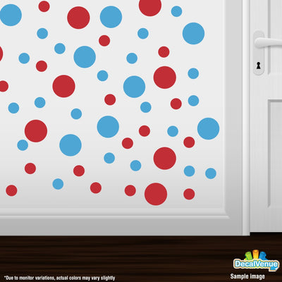 Red / Ice Blue Polka Dot Circles Wall Decals-Polka Dot Circles-Decal Venue