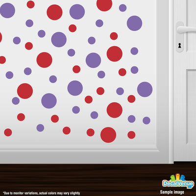 Red / Lavender Polka Dot Circles Wall Decals | Polka Dot Circles | DecalVenue.com