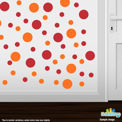 Red / Orange Polka Dot Circles Wall Decals | Polka Dot Circles | DecalVenue.com