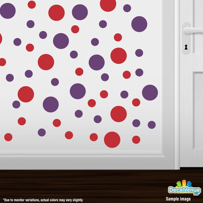 Red / Purple Polka Dot Circles Wall Decals | Polka Dot Circles | DecalVenue.com