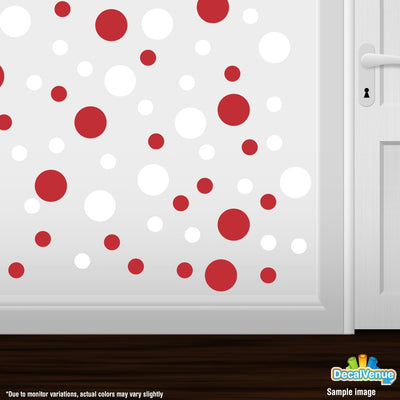 Red / White Polka Dot Circles Wall Decals | Polka Dot Circles | DecalVenue.com