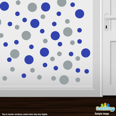 Metallic Silver / Blue Polka Dot Circles Wall Decals-Polka Dot Circles-Decal Venue