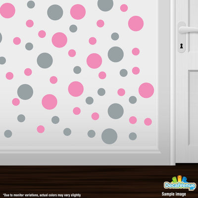 Pink / Metallic Silver Polka Dot Circles Wall Decals | Polka Dot Circles | DecalVenue.com
