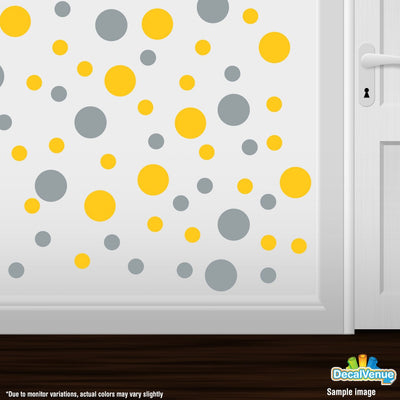 Yellow / Metallic Silver Circle Polka Dots Decal Stickers | Decal Venue