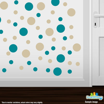 Turquoise / Beige Polka Dot Circles Wall Decals | Polka Dot Circles | DecalVenue.com