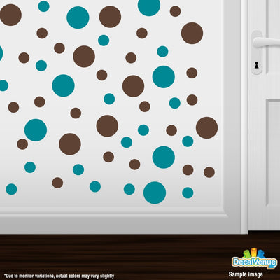 Turquoise / Chocolate Brown Polka Dot Circles Wall Decals | Polka Dot Circles | DecalVenue.com