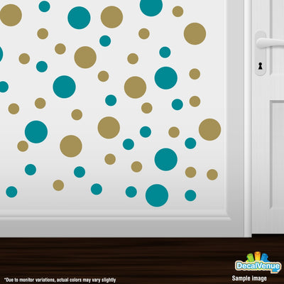 Turquoise / Metallic Gold Polka Dot Circles Wall Decals | Polka Dot Circles | DecalVenue.com