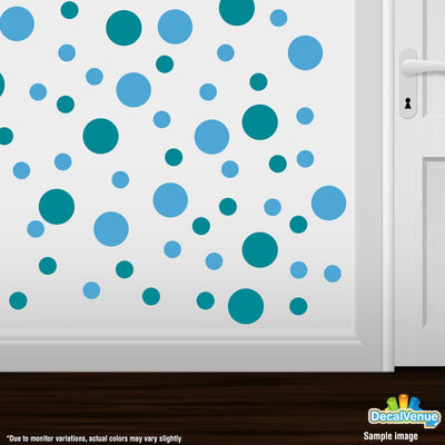 Turquoise / Ice Blue Polka Dot Circles Wall Decals | Polka Dot Circles | DecalVenue.com