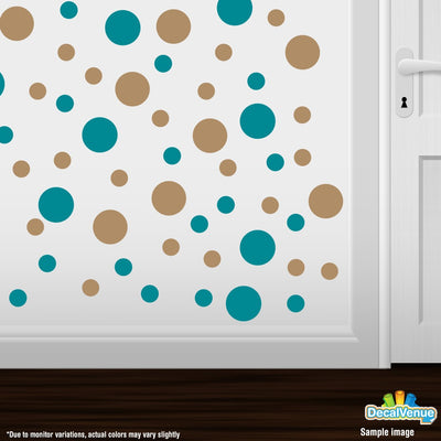Turquoise / Light Brown Polka Dot Circles Wall Decals | Polka Dot Circles | DecalVenue.com