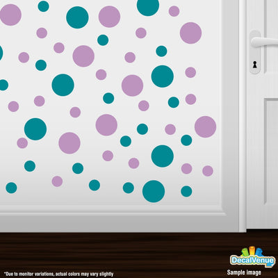 Turquoise / Lilac Polka Dot Circles Wall Decals | Polka Dot Circles | DecalVenue.com