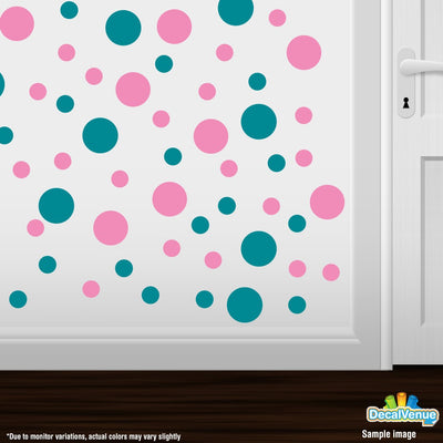 Turquoise / Pink Polka Dot Circles Wall Decals | Polka Dot Circles | DecalVenue.com