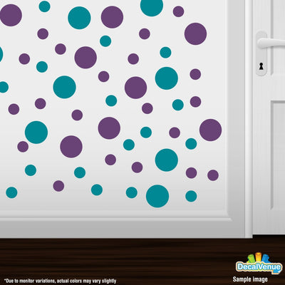 Purple / Turquoise Polka Dot Circles Wall Decals | Polka Dot Circles | DecalVenue.com