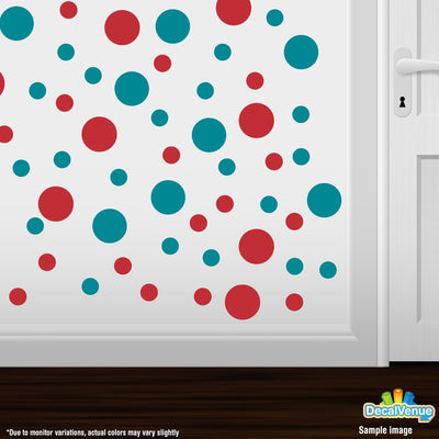 Turquoise / Red Polka Dot Circles Wall Decals | Polka Dot Circles | DecalVenue.com