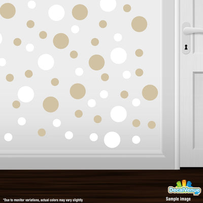 White / Beige Polka Dot Circles Wall Decals | Polka Dot Circles | DecalVenue.com