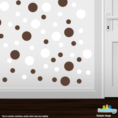White / Chocolate Brown Polka Dot Circles Wall Decals-Polka Dot Circles-Decal Venue