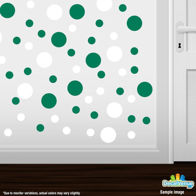 White / Green Polka Dot Circles Wall Decals | Polka Dot Circles | DecalVenue.com