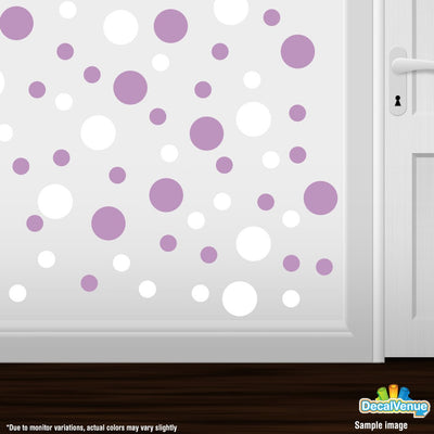 White / Lilac Polka Dot Circles Wall Decals-Polka Dot Circles-Decal Venue