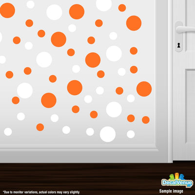 White / Orange Polka Dot Circles Wall Decals-Polka Dot Circles-Decal Venue