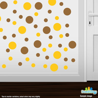 Yellow / Metallic Copper Polka Dot Circles Wall Decals | Polka Dot Circles | DecalVenue.com