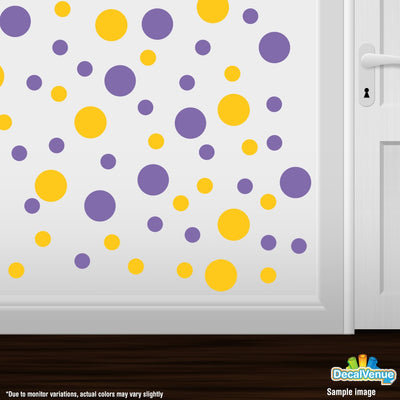 Yellow / Lavender Polka Dot Circles Wall Decals | Polka Dot Circles | DecalVenue.com