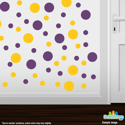 Yellow / Purple Polka Dot Circles Wall Decals | Polka Dot Circles | DecalVenue.com