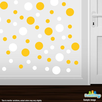 Yellow / White Polka Dot Circles Wall Decals-Polka Dot Circles-Decal Venue