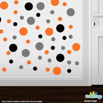 Black / Grey / Orange Polka Dot Circles Wall Decals | Polka Dot Circles | DecalVenue.com